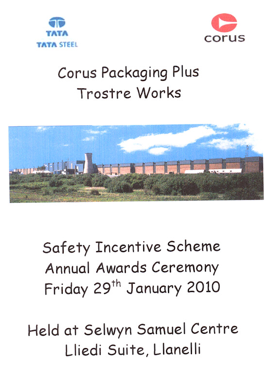 Corus Llanelli safety incentive scheme annual awards ceremony
