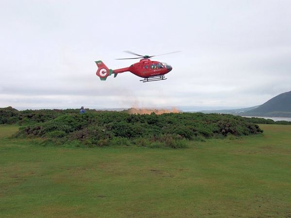 Air Ambulance setting down outside the lookout.